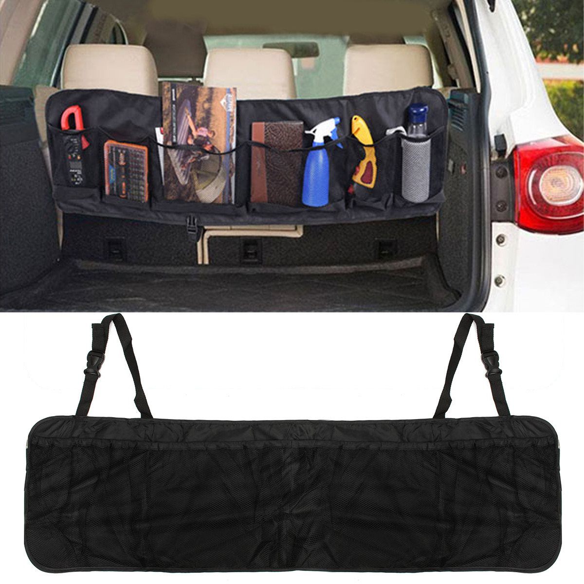 110 x 34cm Car Seat Back Tidy Organiser Multi-Pocket Auto Travel Hanging Storage Bag Holder Auto Accessories auto car seat back organizer holder bag
