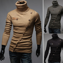 2016 New Arrival Brand Men's Sweaters Turtleneck Pullover Patchwork Personalized Paper superscript Design Pullovers Men Clothing