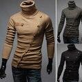 2016 homens Chegada Novo Marca Camisolas de Gola Alta Pullover Patchwork Personalizado Papel sobrescrito Projeto Pullovers Roupas Masculinas