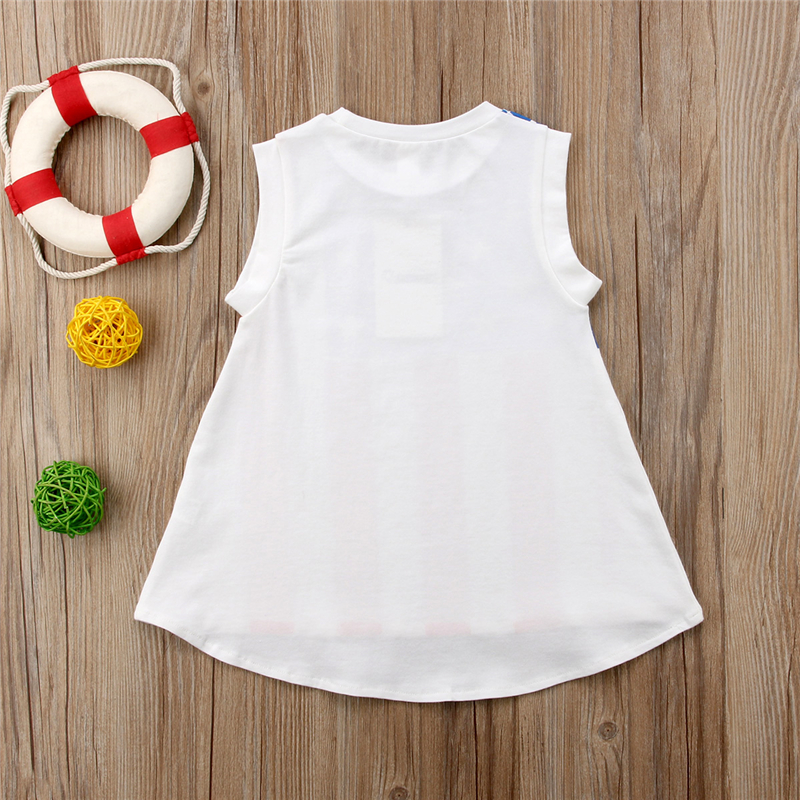 Casual Kids Baby Girl Mini Dress Toddler Girls Print American USA Flag Party Dresses Loose Summer Vestidos Clothes Jumper 1-6Y