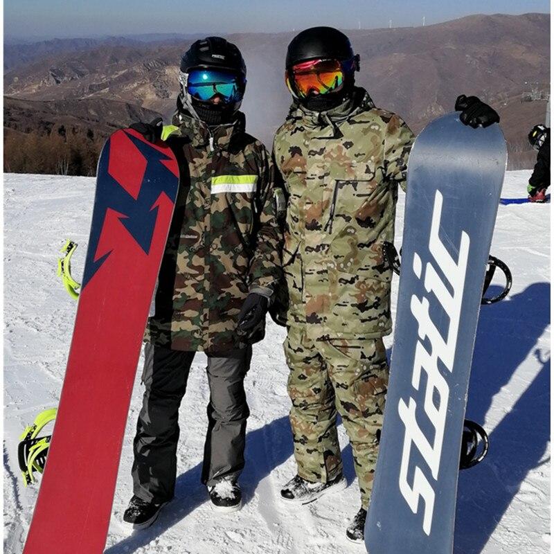 Hombres camuflaje doble solo juego de esquí caliente gruesa al aire libre alpinismo deporte impermeable chaqueta de esquí pantalones tamaño grande xL
