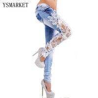 Spring New Denim Sexy Lace Women Jeans Floral Splice Low Waist Long Pencil Denim Pants Femme Skinny Boyfriend Jeans 66831