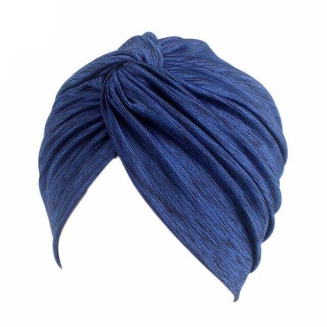 Nueva moda suave mujer elástico quimio gorro turbante musulmán bufanda  abrigo gorras diadema sólida sombrero para 1aa72416780