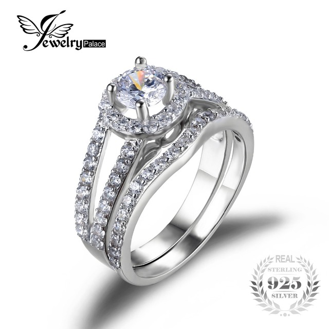JewelryPalace Solid 925 Sterling Silver 1.8ct Anniversary Wedding Band Halo Engagement Solitaire Ring Bridal Sets