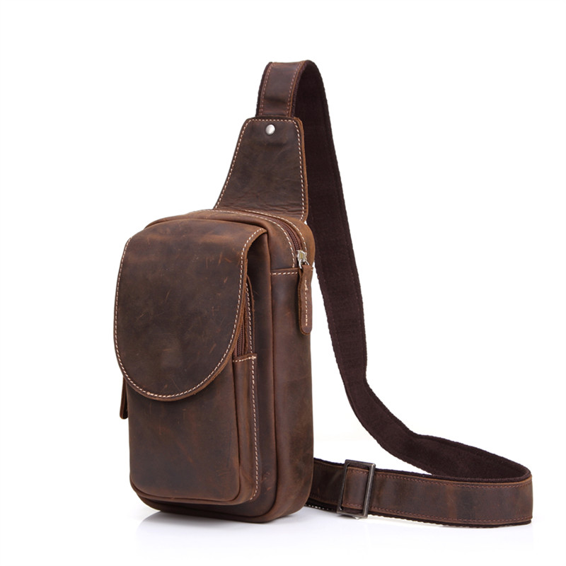 Vintage Men Bag Genuine Crazy Horse Leather Men Chest Pack Shoulder Bag Fashion Mens Crossbody Messenger Bag Dark Brown #M8067 сумка moon messenger bag dark brown melange 978