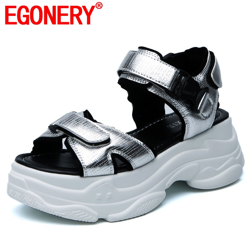 EGONERY punk cool sandals woman summer sneakers stretch fabric silver sandals Casual sports summer girl 6cm