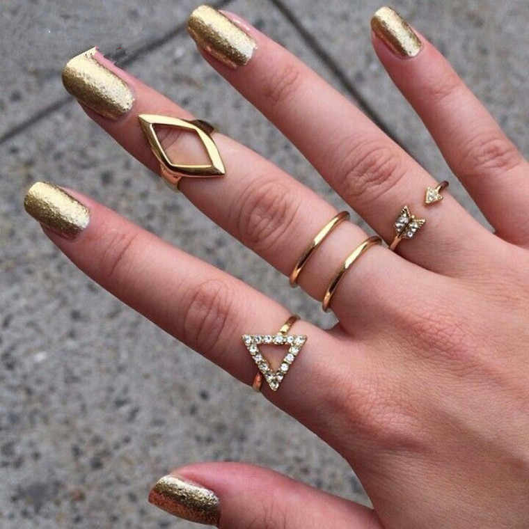 Wholesale  gold Plating Rhinestone Trangle rhombus Arrow Finger Rings Set ,5pcs/set Fashion Jewelry