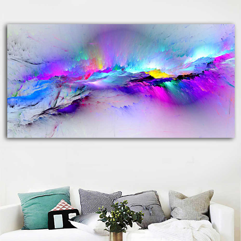 Colorful Clouds Abstract Painting Abstract Colors Art Canvas Wall Art Print For Living Room Modern Decorative Painting
