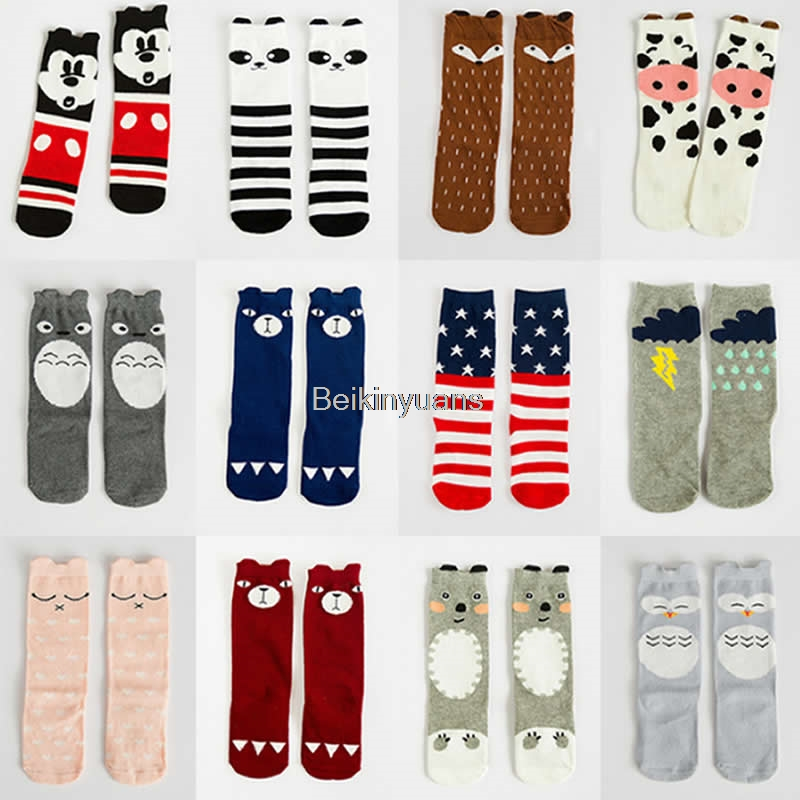 Children Cartoon Socks Mouse Fox Totoro Pattern Style Baby Socks Cotton Kids Knee High Leg Warm Child Sock Infant