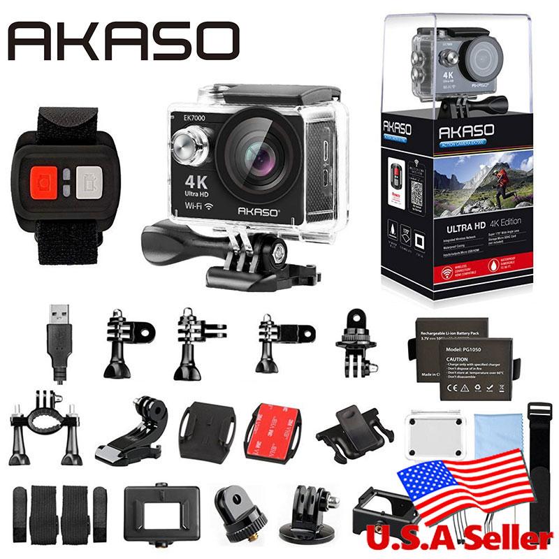 AKASO EK7000 4K WIFI Outdoor Action Camera Ultra HD Go Waterproof Cam Pro bike helmet 1080p