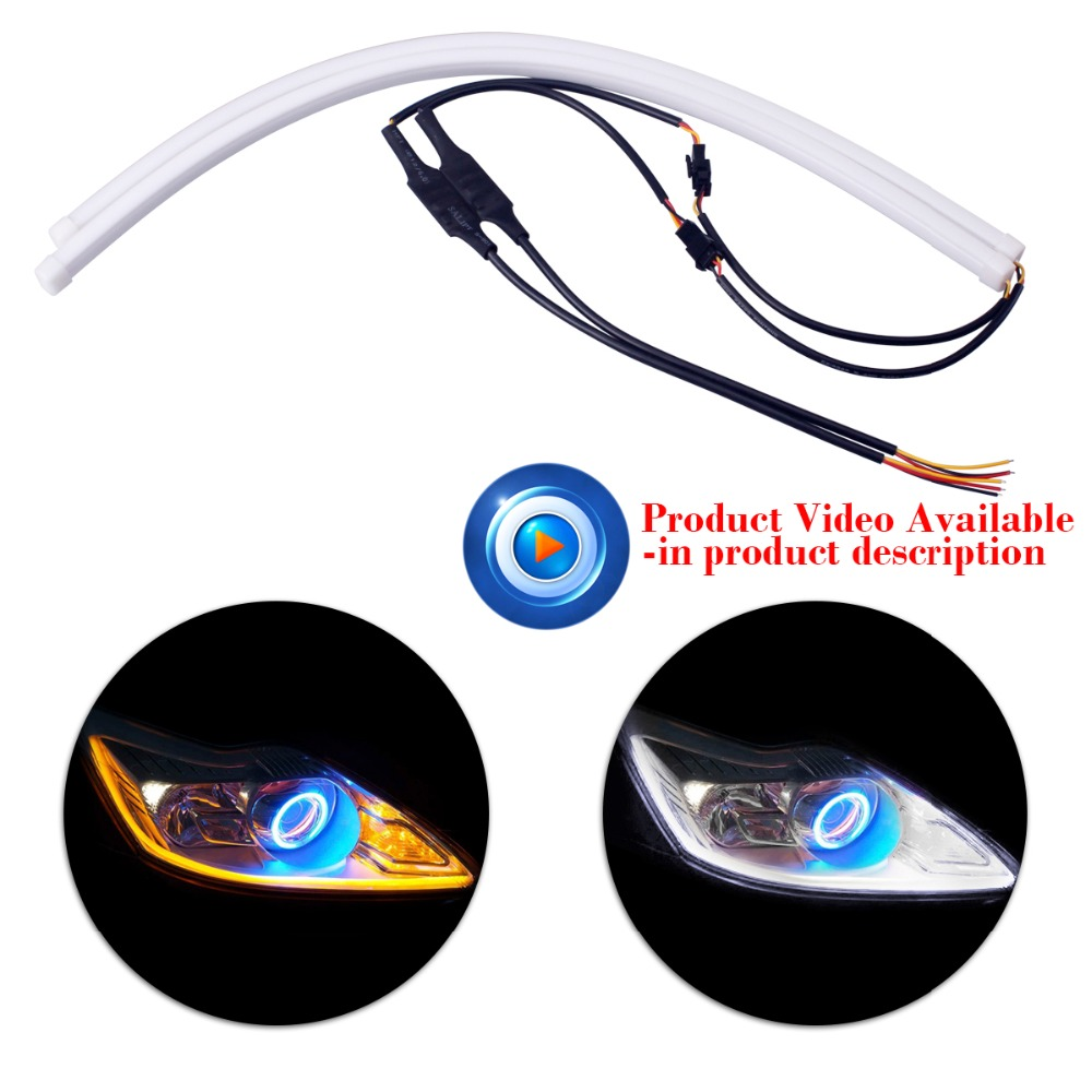 2pcs 45cm <font><b>DRL</b></font> Flexible Car <font><b>LED</b></font> Tube Daytime Running Light Strip Auto <font><b>Turn</b></font> <font><b>Signal</b></font> Parking Lamp for <font><b>Passat</b></font> <font><b>b6</b></font> P21w Universal image