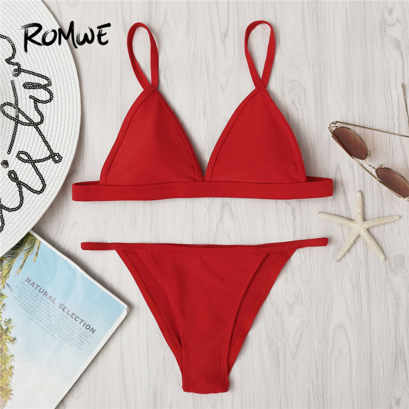 Romwe Sport Red Sexy Beach Bikini Set 2018 Women Solid Summer Bathing Suit Brief Hot Girls Swimwear New Adjustable Strap Bikinis