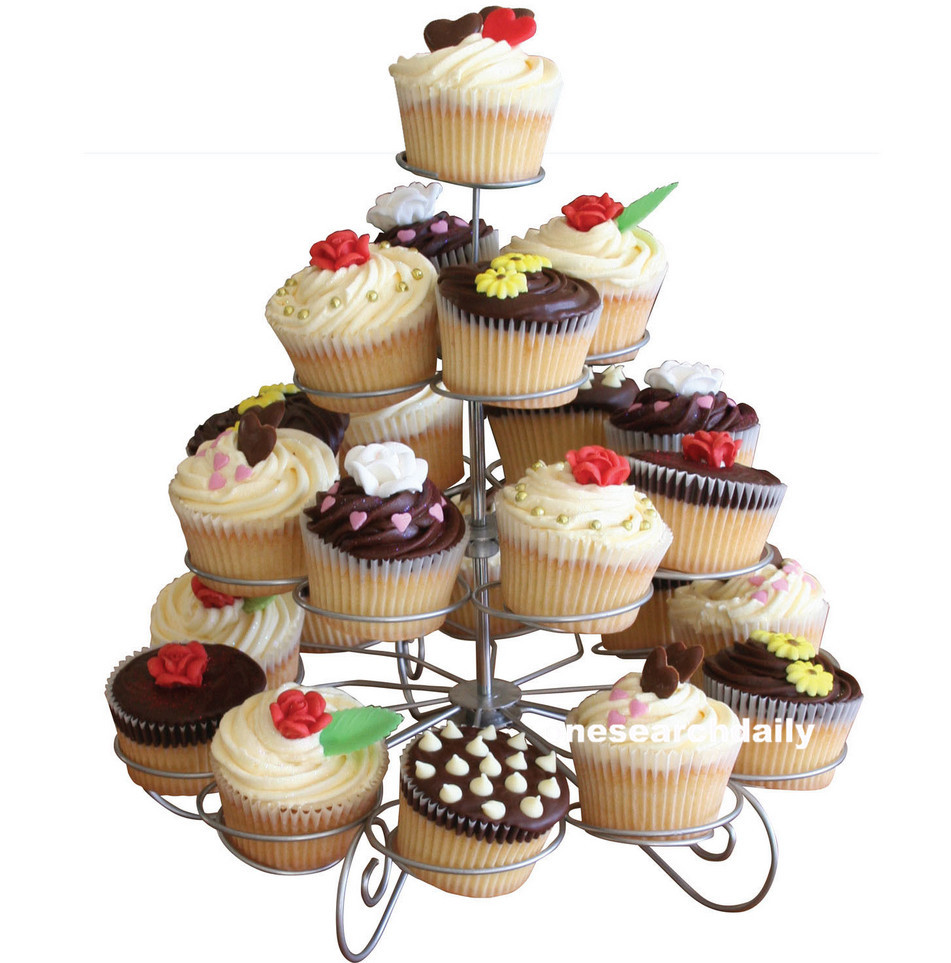 23 <font><b>Cups</b></font> European-style Multifunction Christmas Tree Shape <font><b>Birthday</b></font> Party <font><b>Cupcake</b></font> Stand Iron 4 Tier Cake Stand Holder