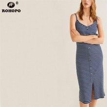 ROHOPO Summer Striped Cotton Bodycon Sleeveless Straight Navy Blue Midi Dress Female Single Breast Sheathe vestido #LT2017