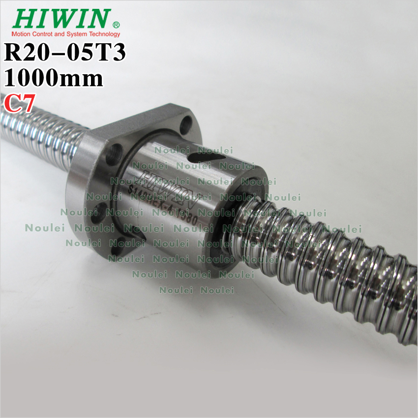HIWIN 2005 ball screw 1000mm Rolled C7 with ballnut 5mm lead for CNC kit diy custom end machined and length tbi ball screw 2005 c7 1000mm with 5mm lead without flange ballnut bsh2005 for cnc kit backlash