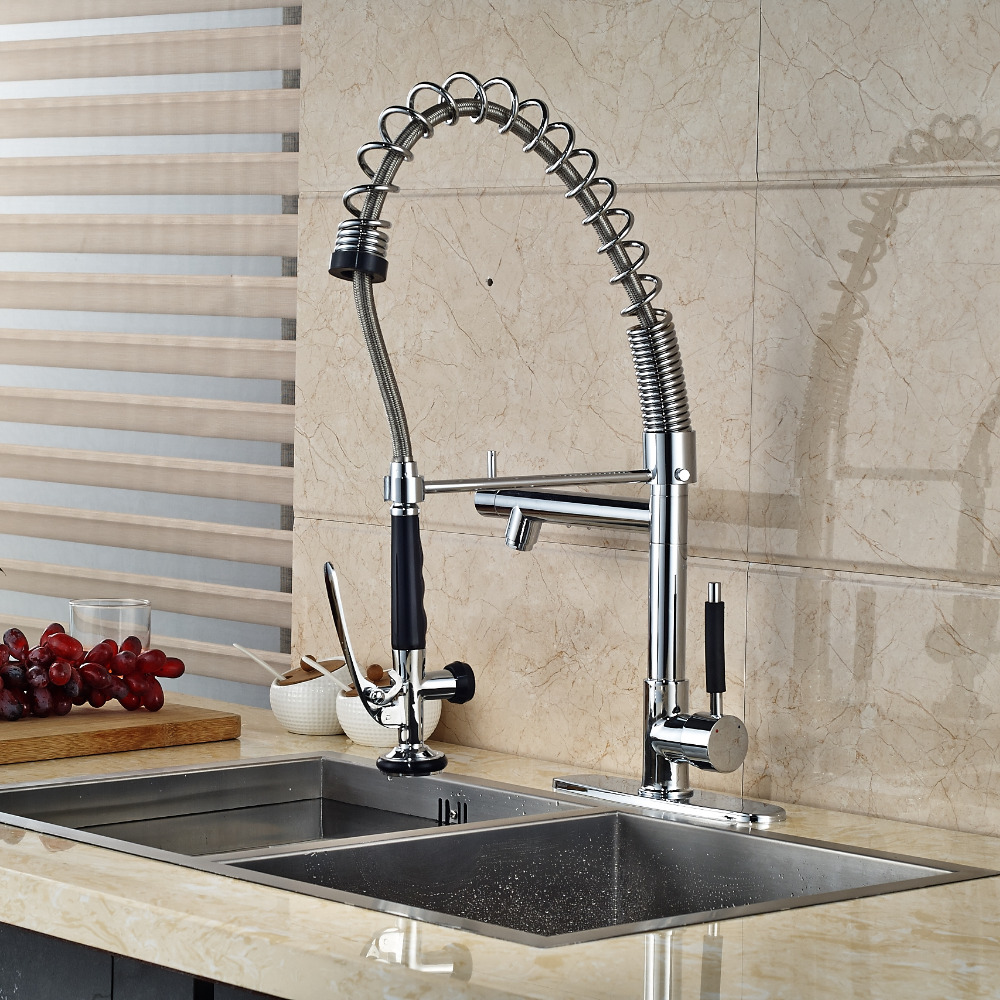 Luxury Solid Brass Kitchen Faucet Dual Spouts Vessel Sink Mixer Tap W/ 8 Plate golden brass kitchen faucet dual handles vessel sink mixer tap swivel spout w pure water tap