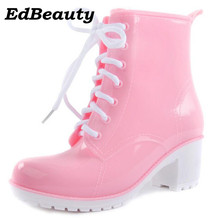 2017 NEW Rain Boots Women Ankle Boots Platform High Heels Rubber Shoes Woman Lace Up Rain boots Candy Color Size 36-41