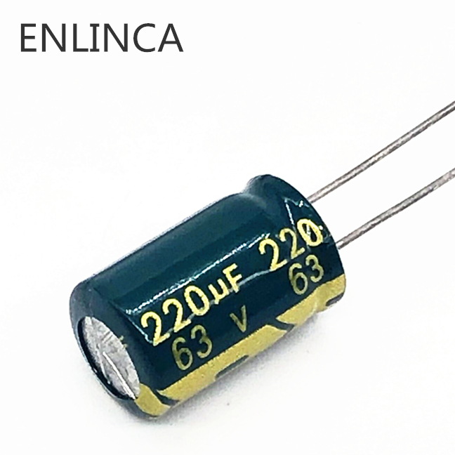 20pcs/lot T06 high frequency low impedance <font><b>63v</b></font> <font><b>220UF</b></font> aluminum electrolytic capacitor size 10*17 <font><b>220UF</b></font> 20% image