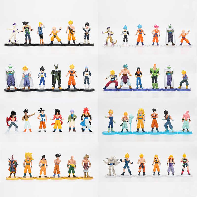 6 Pcs/set 12 Cm Anime Dragon Ball Z Super Saiyan Batang Vegeta Goku Uub Kakarotto PVC Action Figures, Mainan natal Hadiah Mainan