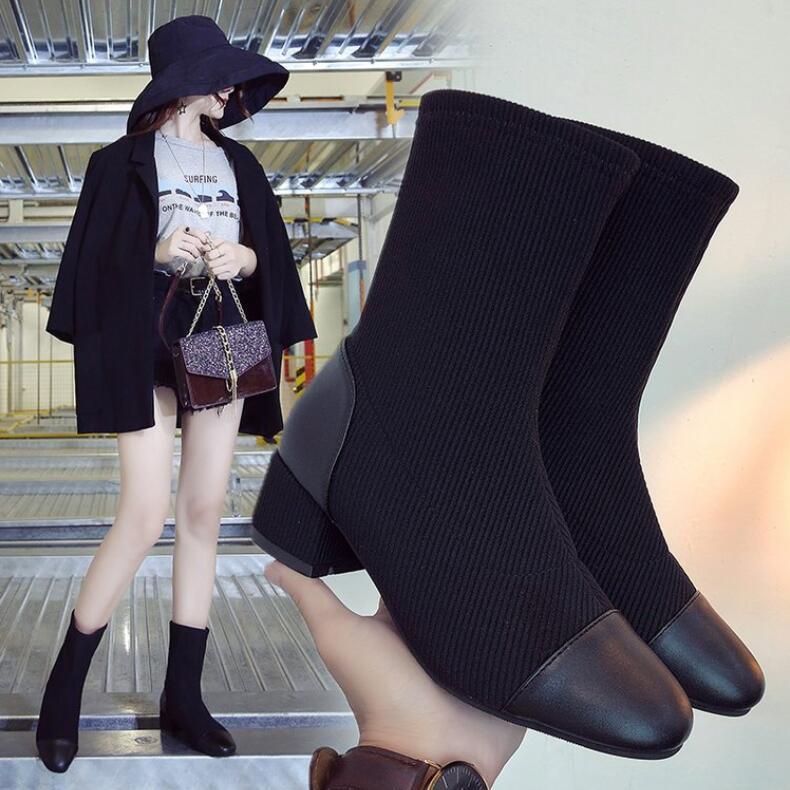 foco Zapatos Solo Corto Tubo Calcetines Botas De Salvaje Marea 2019 Nueva Mujer Bulbo Tacones Botines A1 Y Xczj Gruesos pfqF5T5