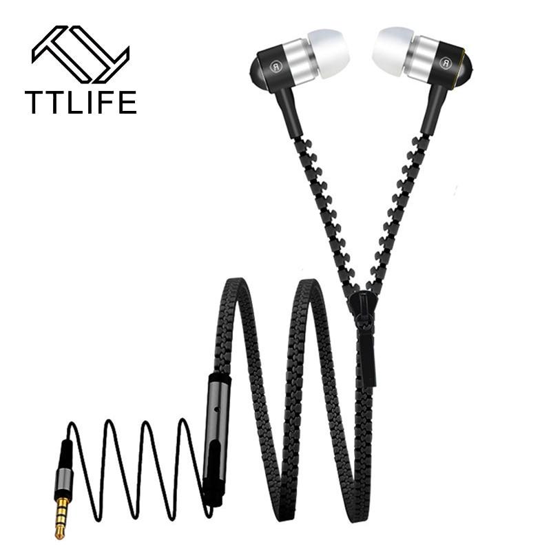 TTLIFE Cheap Zipper Cable Earphone 9 Colors Metal Earbud