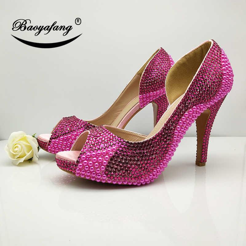 5385e5f1b9b BaoYaFang fuschia crystal Peep toe shoes Womens Wedding shoes and bags Open  side Fashion shoes for woman New arrival High Pumps