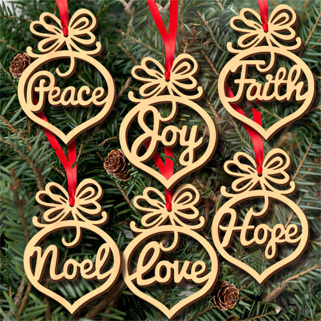 6pcslot wooden christmas pendant peace joy faith noel love hope design christmas hangings christmas