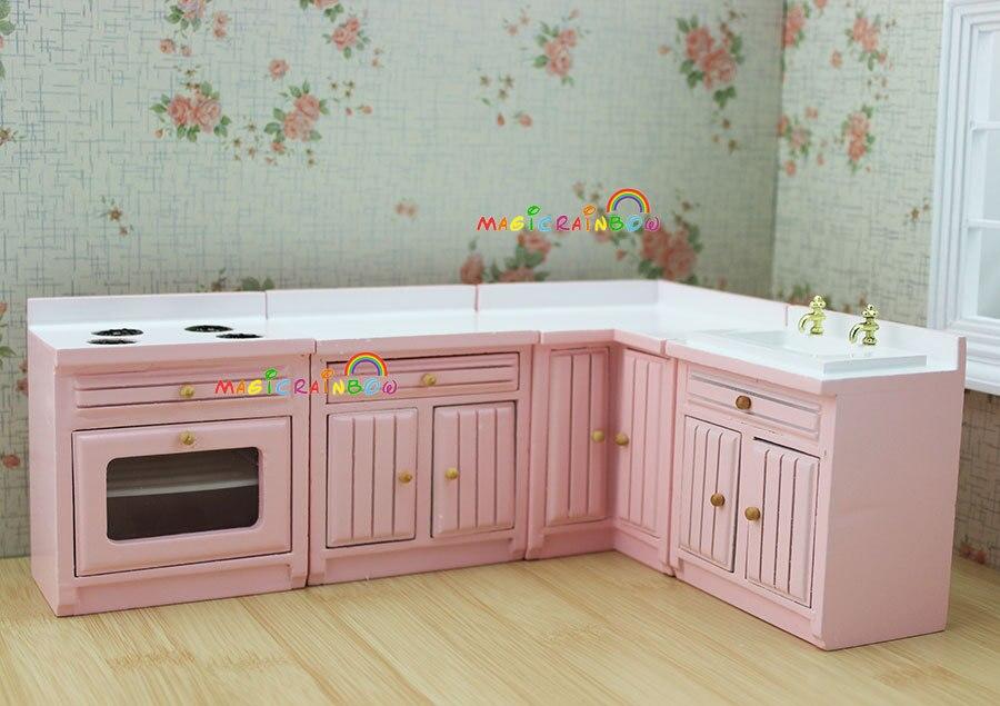 Comprar 1 12 escala de muebles dollhouse - Cocinas de color rosa ...