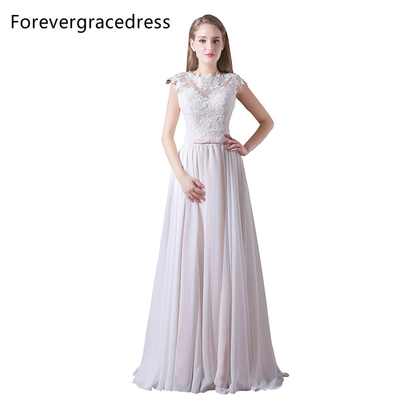 Forevergracedress Cheap   Bridesmaid     Dress   New Arrival Lace Up Back Chiffon Long Wedding Party Gown Plus Size Custom Made