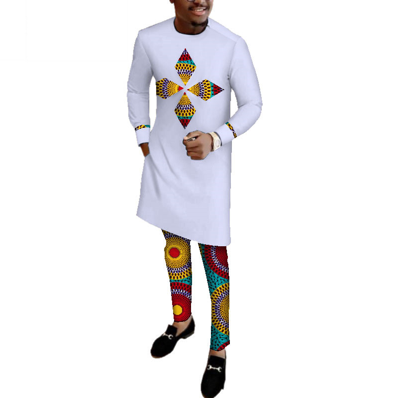 Autumn Mens African Clothing Plus Size Dashiki Men 2 Pieces Shirts And Pant Set Cotton Clothing Long Sleeve O Neck WYN513