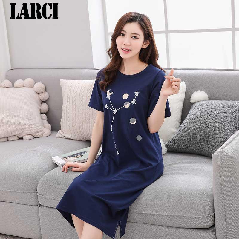 LARCI summer sexy grils dresses women cotton dress O-neck short sleepwear a-line straight knee-length casual nightgowns C811