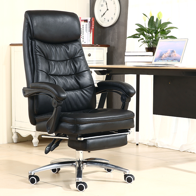 Genuine Leather Office Chair Household Cowhide Leather Computer Chair PU Swivel Lift Gaming Chair Reclining Silla Oficina Silla