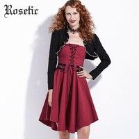 Rosetic Gothic Black Shawl Patchwork Dress Long Sleeve Lace Up Bandage Bowknot Belt Slim Women Christmas