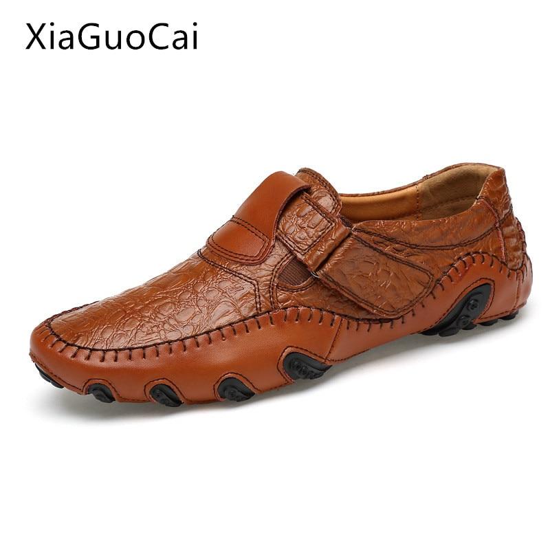 XiaGuoCai Large Size 47 Black Crocodile Men Loafers Genuine Leather Breathable Men Flats Slip-on Casual Shoes L49 35 hamelia big size 49 genuine leather men winter casual shoes black cow leather shoes slip on lace up men lazy loafers flats