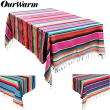 OurWarm 150X215cm Mexican Cotton Tablecloth Wedding Decorations Serape Blanket Table Cover Party Supplies USA Warehouse