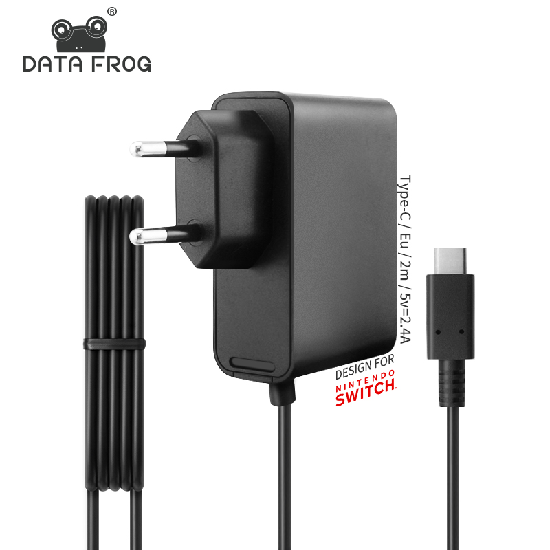 DATA FROG EU Plug Charger AC Adapter For Nintend Switch NS Game Console Wall Travel Home Charge 5V 2.4A USB Type C Power Supply