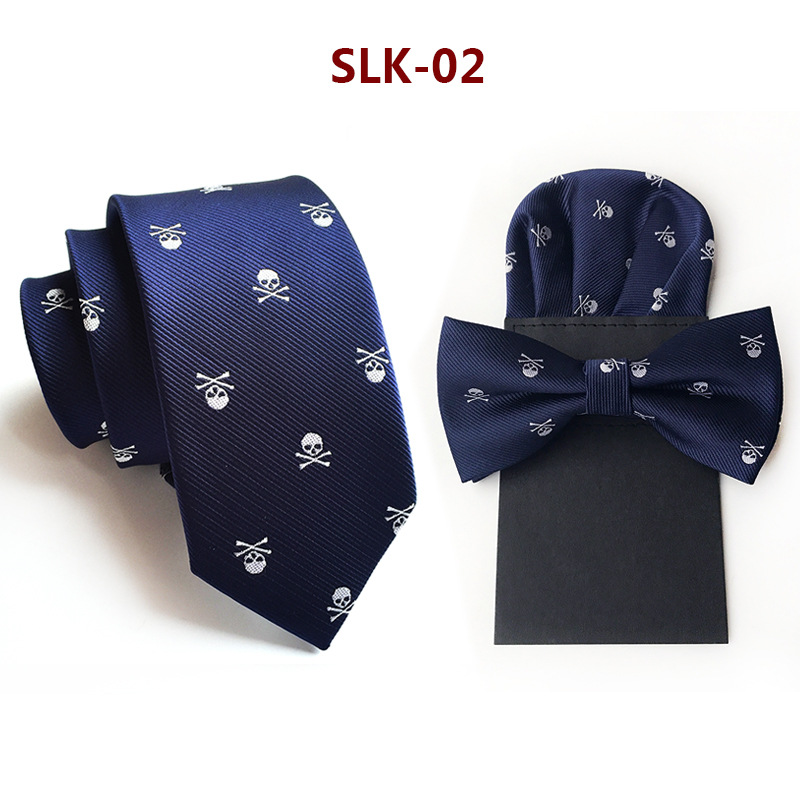 New Tie Bow Tie  Handkerchief  Three-piece  For Men Paper Hanky Bowtie Pocket Square Skull  Corbata Wedding Business Necktie