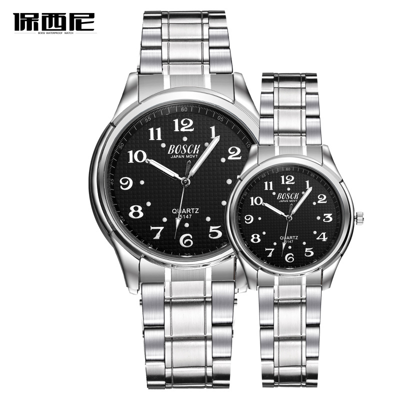 BOSCK Top Brand Watch Steel Men Quartz Simple Watches Couple Clock Casual Stainless Steel Wristwatch Men Women Unisex Saat 2017 eyki top brand men watches casual quartz wrist watches business stainless steel wristwatch for men and women male reloj clock