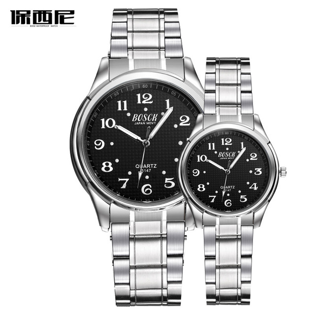 BOSCK Top Brand Watch Steel Men Quartz Simple Watches Couple Clock Casual Stainl