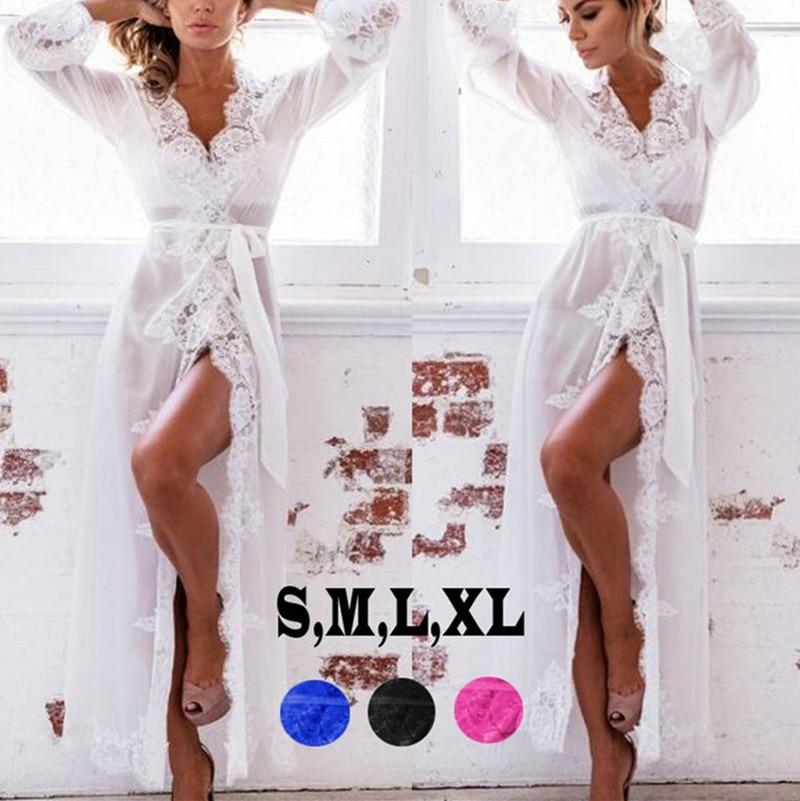 Новейшие Модные Для женщин пикантные Кружево Sheer длинный халат ночная рубашка халат пижамы белье рубашки пижамы видеть сквозь