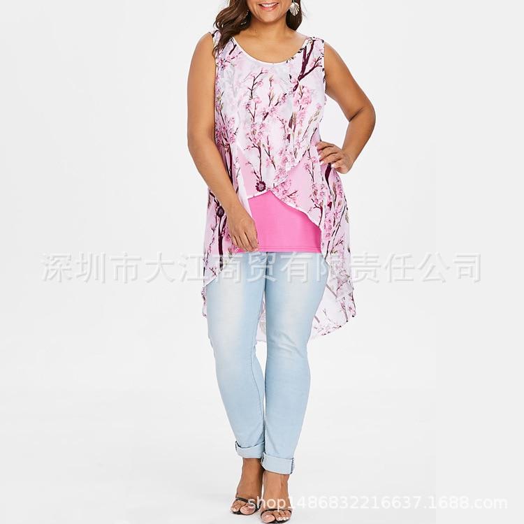 Corto rosado Nuevo Mujeres La Más azul Verano Impresión De Gasa Grande Superior Negro blanco Chaleco Tamaño 5xl Las púrpura Bachash pTqx7Iwq