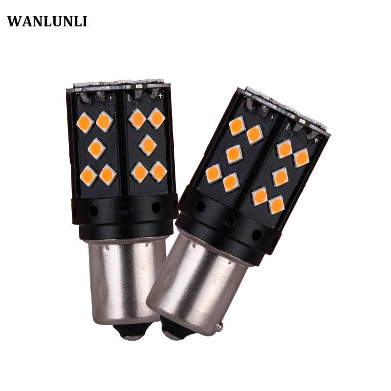 2pcs P21W PY21W LED Canbus BA15S 35w1156 car LED lamp 3030 SMD yellow DRL car brake lamp turn signal high power Car styling