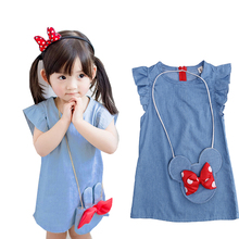 Stylsih Cute Baby Toddlers Kids Girl Solid Dress Minnie Mouse Sleeveless Little Mini Bag Ruffles Demin Casual Dresses 1-5T