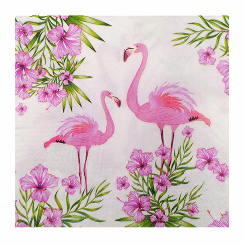 20 Vintage Table Napkins Paper Love Tissue Printed Pink Flamingo Flower Decoupage Wedding Serviette Party Cocktail Handkerchief