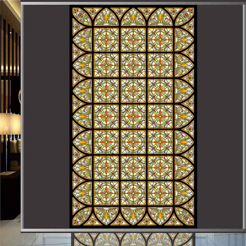 Decorative stained glass film opaque self adhesive or for Decorative stained glass windows