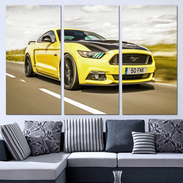 3 Panels Canvas Art Sports Car Ford Mustang Home Decor Wall Art Painting  Canvas Prints Pictures