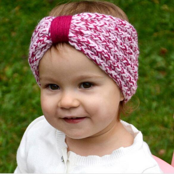1 UNIDS Invierno Diadema Crochet Patrón de Little Kids Nudo Turbante ...