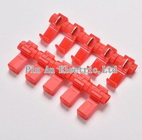 50 pçs/lote Vermelho Friso Terminal de G12 801P3 Scotch Bloquear Emenda Rápida 22-18 AWG Fio Conector Para 0.5-1.0 Fio