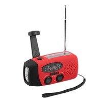 Protable Solar Radio Hand Crank Self Powered Phone Charger 3 LED Flashlight AM FM WB Radio