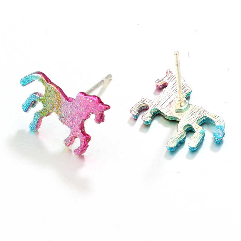 Colorful Glitter Unicorn Earrings For Women Men Silver Color Animal Horse Stud Earring Party Jewelry Bling Bling Ear Accessories